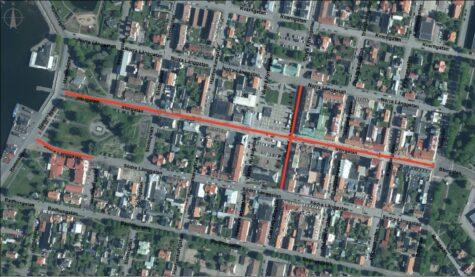 Bild på vilka gator som blir gågator under gågatuperioden