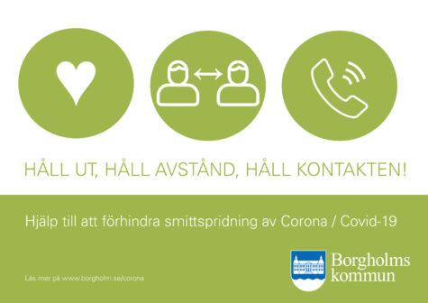 Affisch för utskrift - håll ut, håll avstånd, håll kontakten
