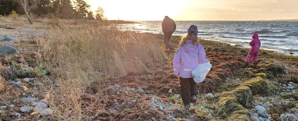 barn som går på en stenig strand med en plastpåse